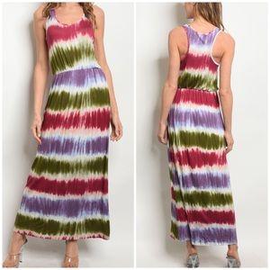 Dresses & Skirts - OLIVE MULTI COLOR TIE DYE MAXI DRESS